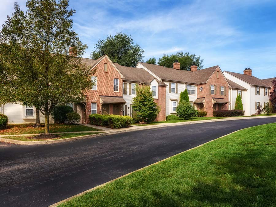exterior view of Reading Pa apartments for rent at Exeter Village