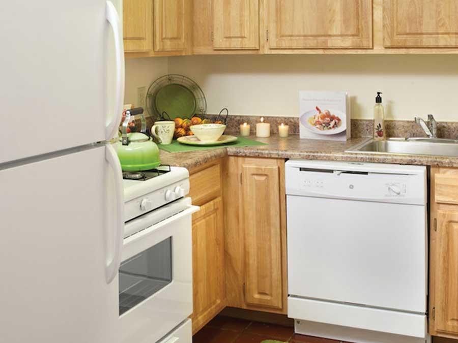 Hampton Gardens kitchen with white appliances