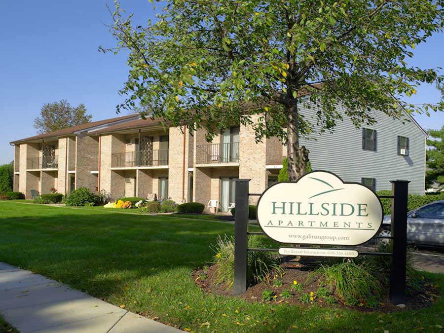 Hillside Apartments exterior property sign