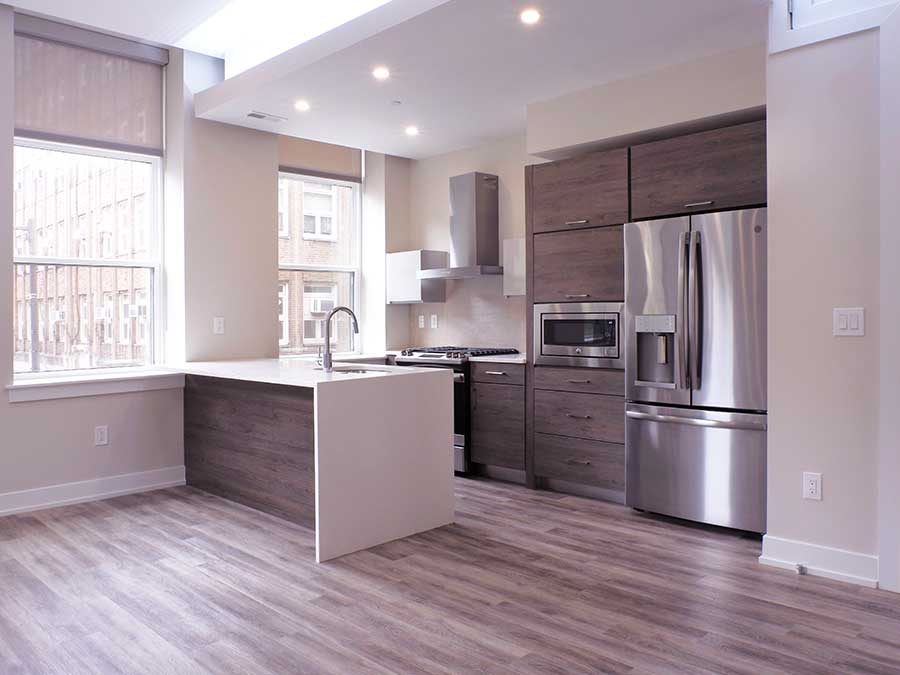 Jeweler's Row Apartments interior apartment with upgraded kitchen appliances