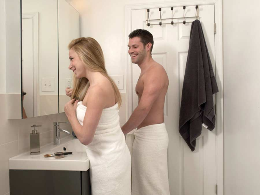 Leverington Court couple in bathroom getting ready