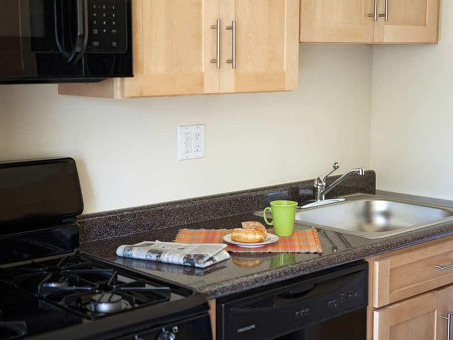 Lion's Gate kitchen with black appliances