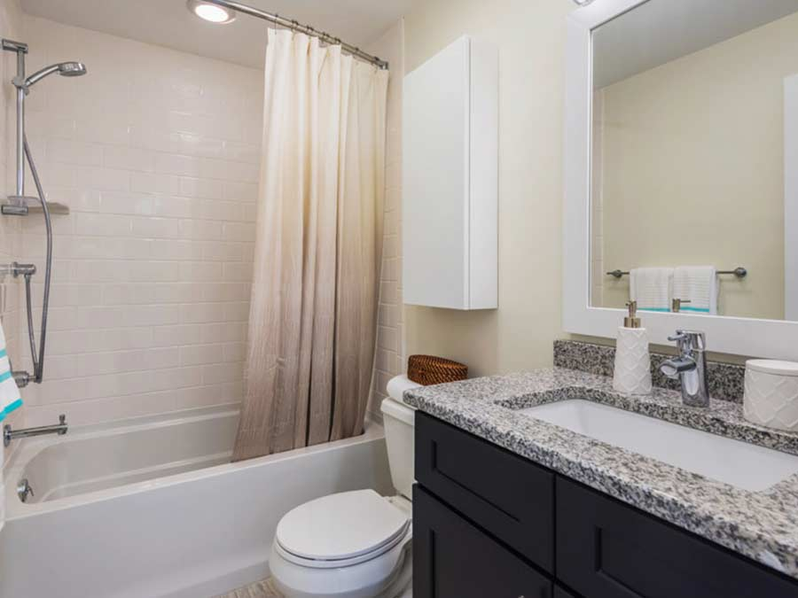 Apartment bathroom at 265 Flats in the Mt. Airy section of Philadelphia