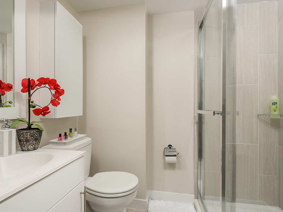 North Lane Apartments bathroom with stall shower