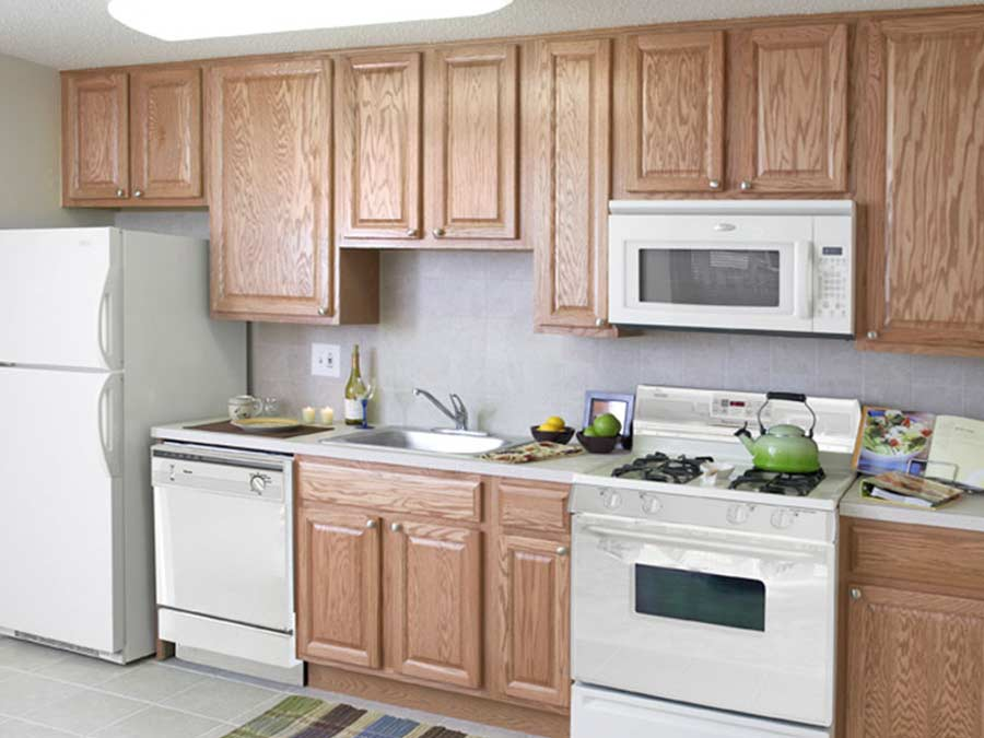 North Lane Apartments kitchen with white appliances