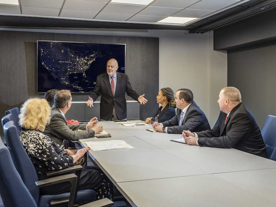 The Pavilion group meeting in conference room