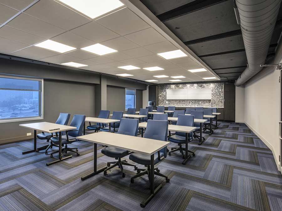 The Pavilion conference room with desks