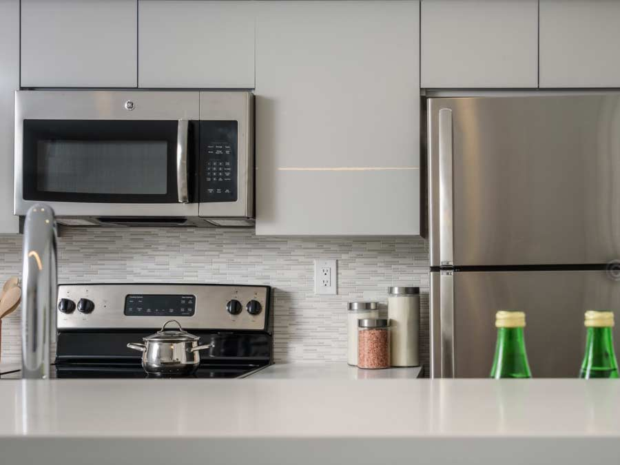 view of appliances in a white apartment kitchen in Jenkintown PA