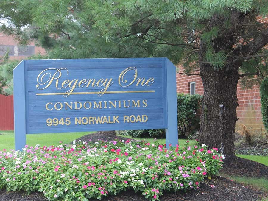 Regency One Condominiums exterior sign