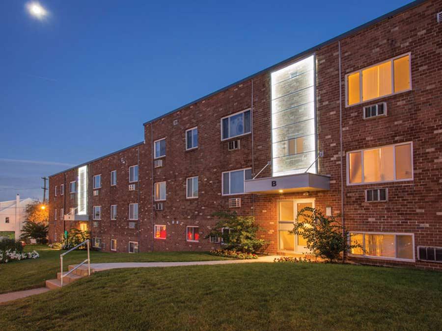 Ridge Court building exterior at dusk