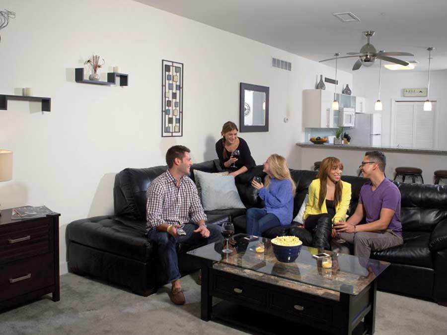 Ridge Court entertaining friends in the living room