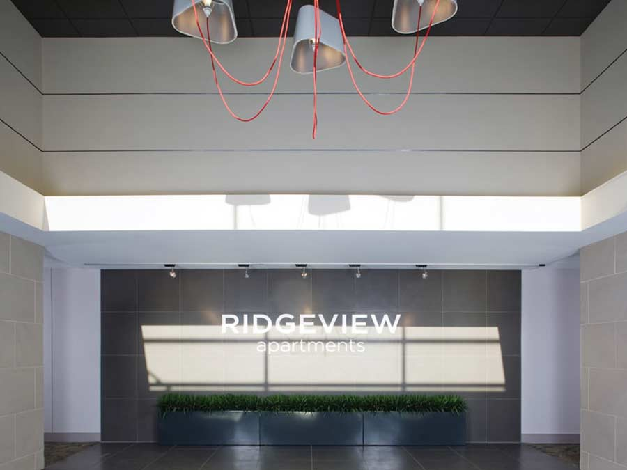 Ridgeview Apartments lobby front sign