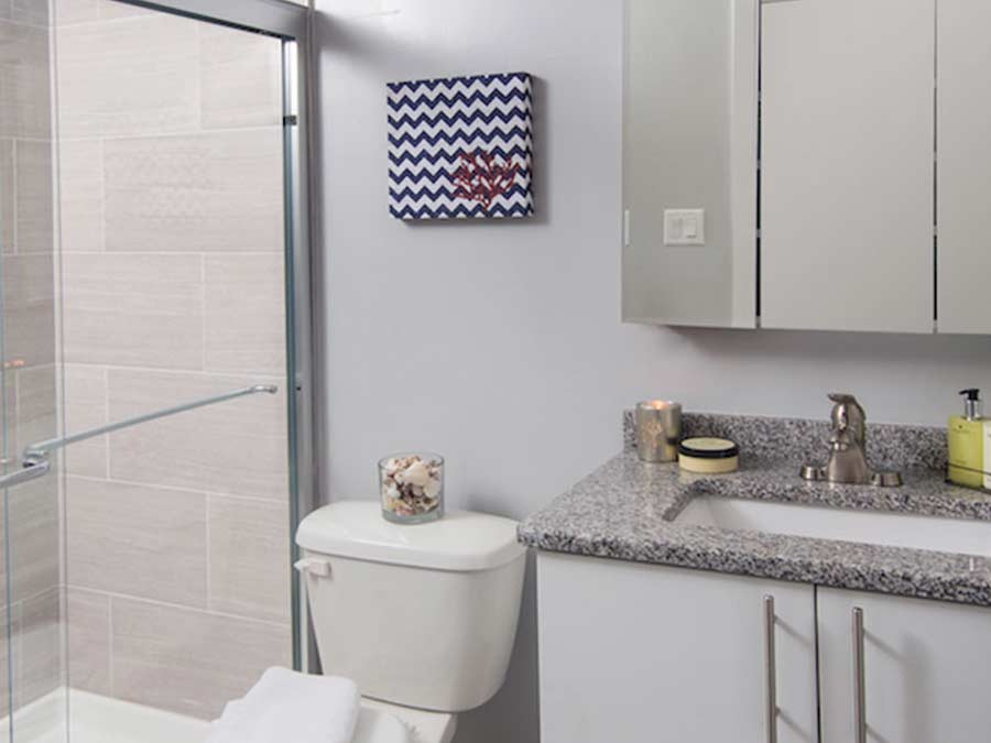 Rock Hill Apartments bathroom with updated showers