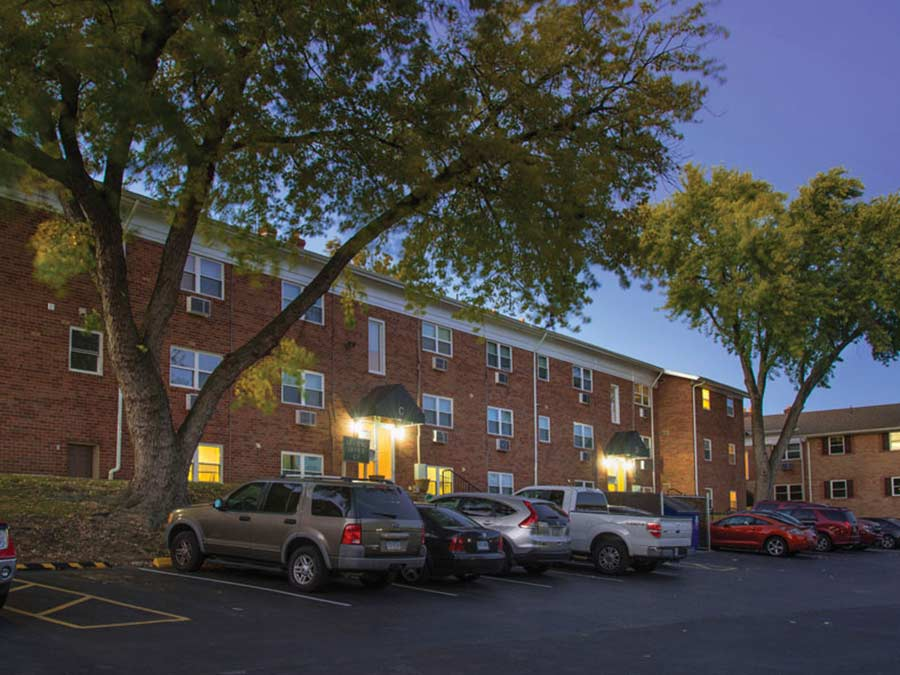 Rock Hill Apartments exterior with parking spaces