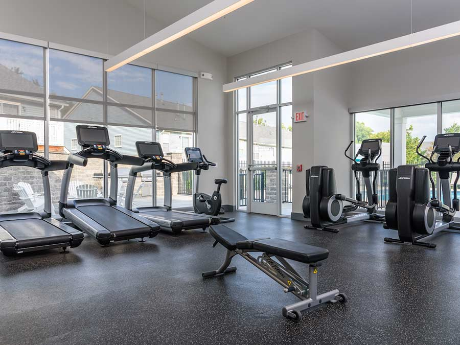 Fitness Center at Sophias Place East with cardio and weight equipment