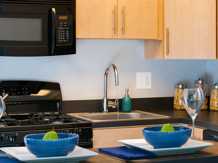 modern and updated kitchen appliances available at the Sophias Place East apartment homes in New Castle DE