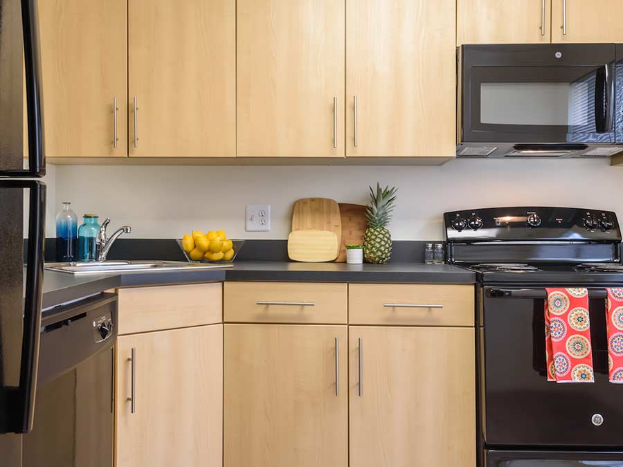 kitchen apartment in New Castle DE with wooden cabinets and black appliances.