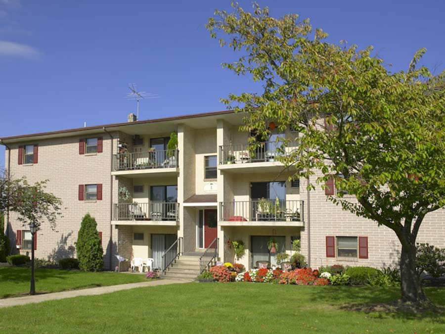 Spruce Court Apartments exterior buildings with balconies and patios
