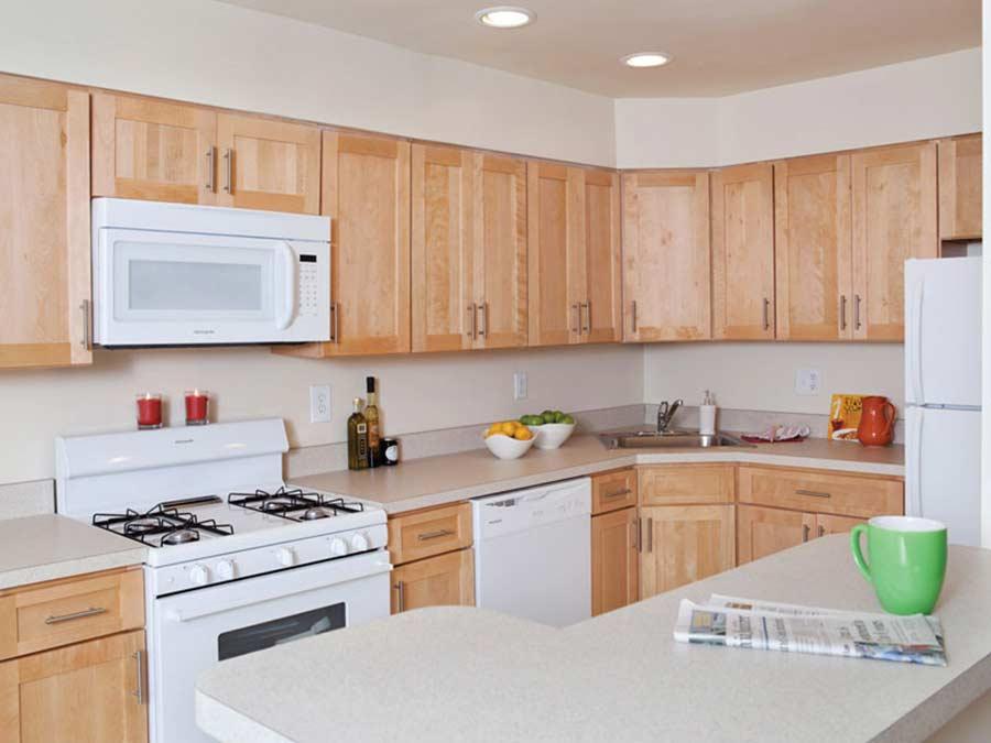 Stenton Plaza kitchen with white appliances