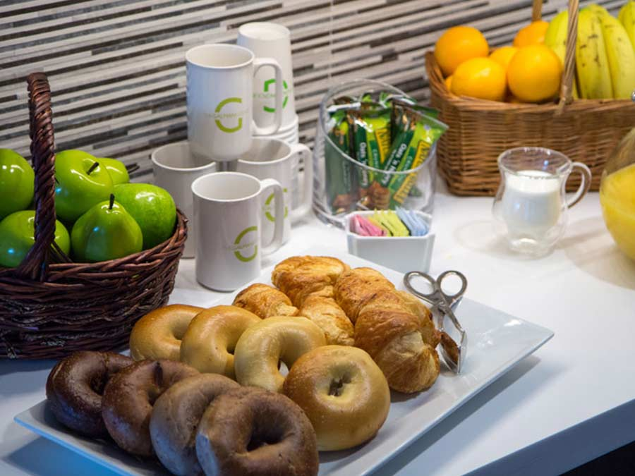 Valley Forge Towers community area with continental breakfast