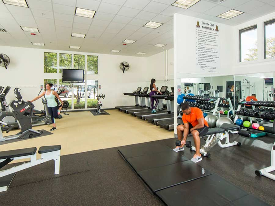 Valley Forge Towers fitness center with free weights and treadmills