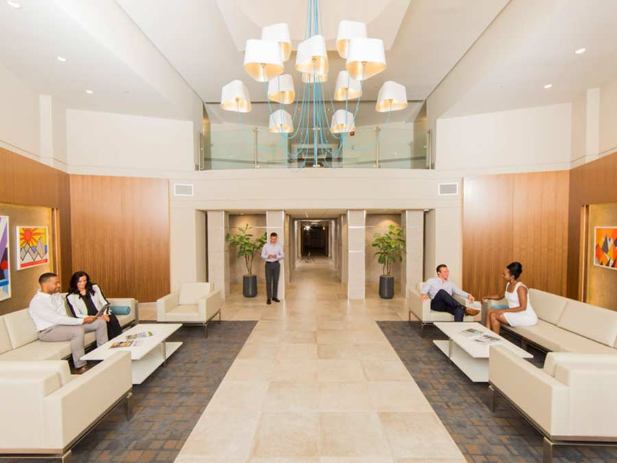 Valley Forge Towers beautiful lobby with seating area