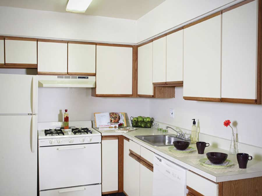 Westfield Apartments kitchen with white appliances