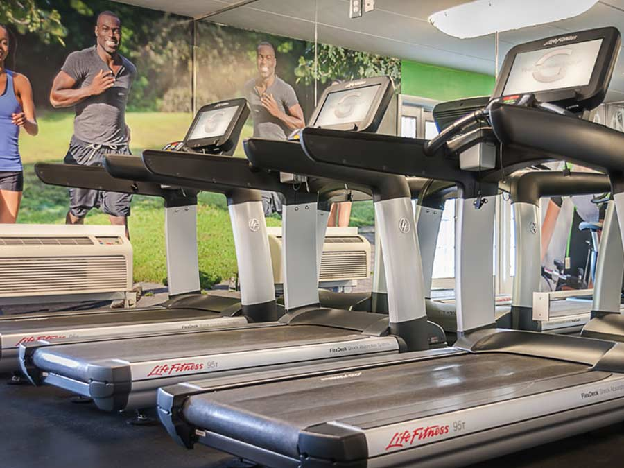 several cardio treadmills in the fitness center at the Whitney Apartments in Claymont DE