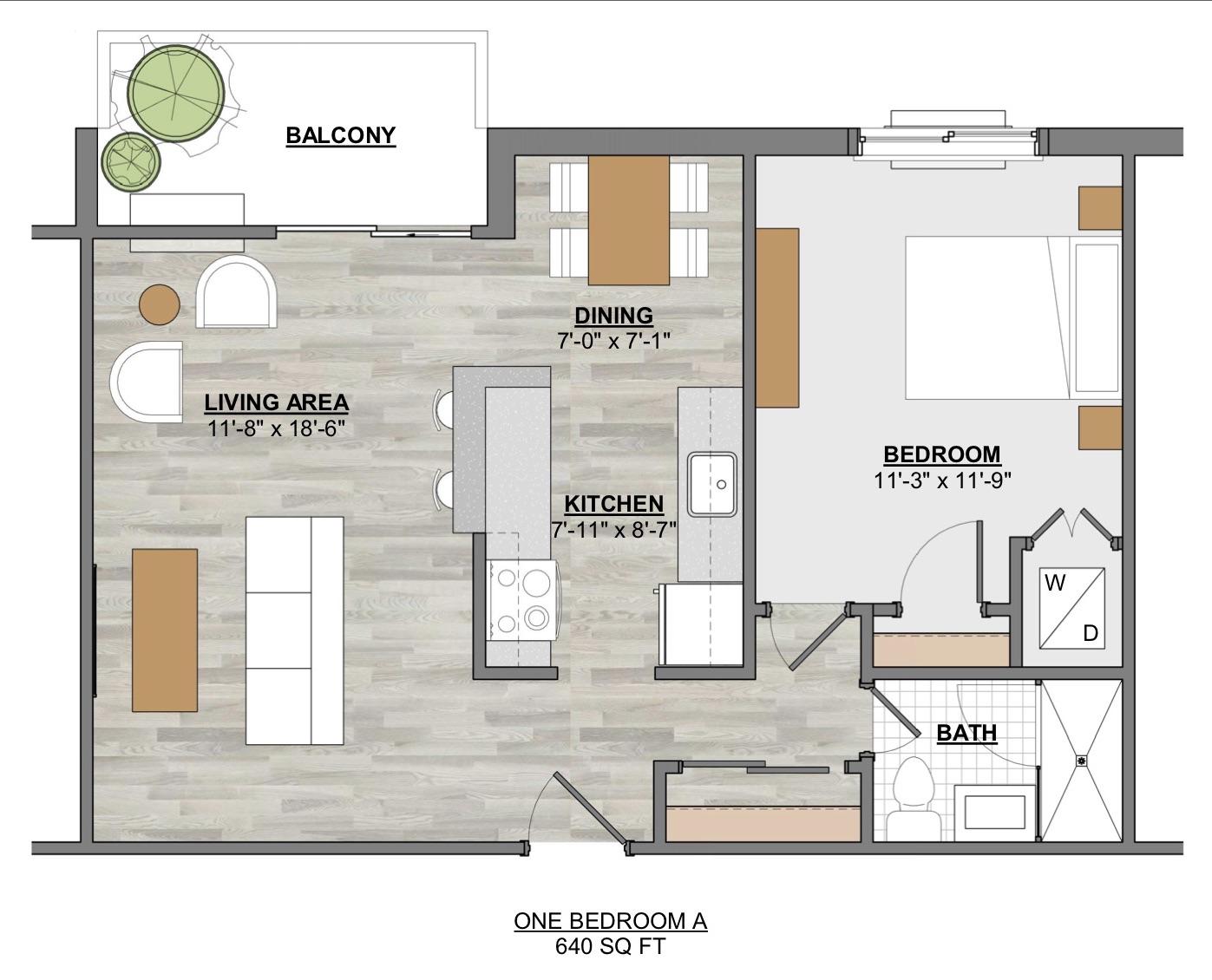 Algon Flats One Bedroom A