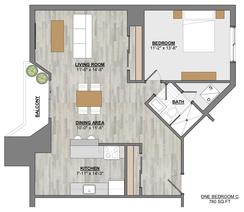 Algon Flats One Bedroom C