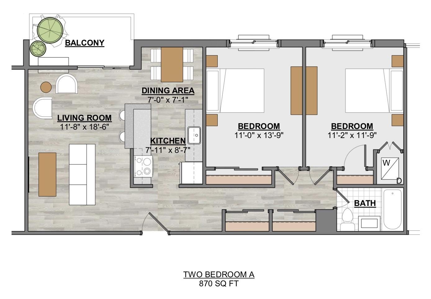 Algon Flats Two Bedroom A
