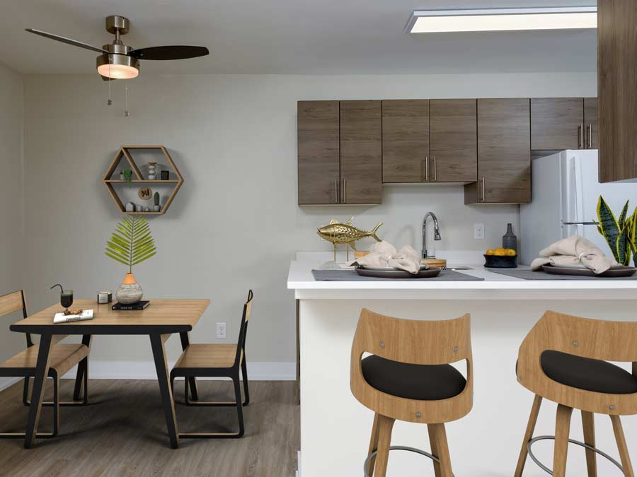 Algon Flats kitchen and dining area with breakfast bar