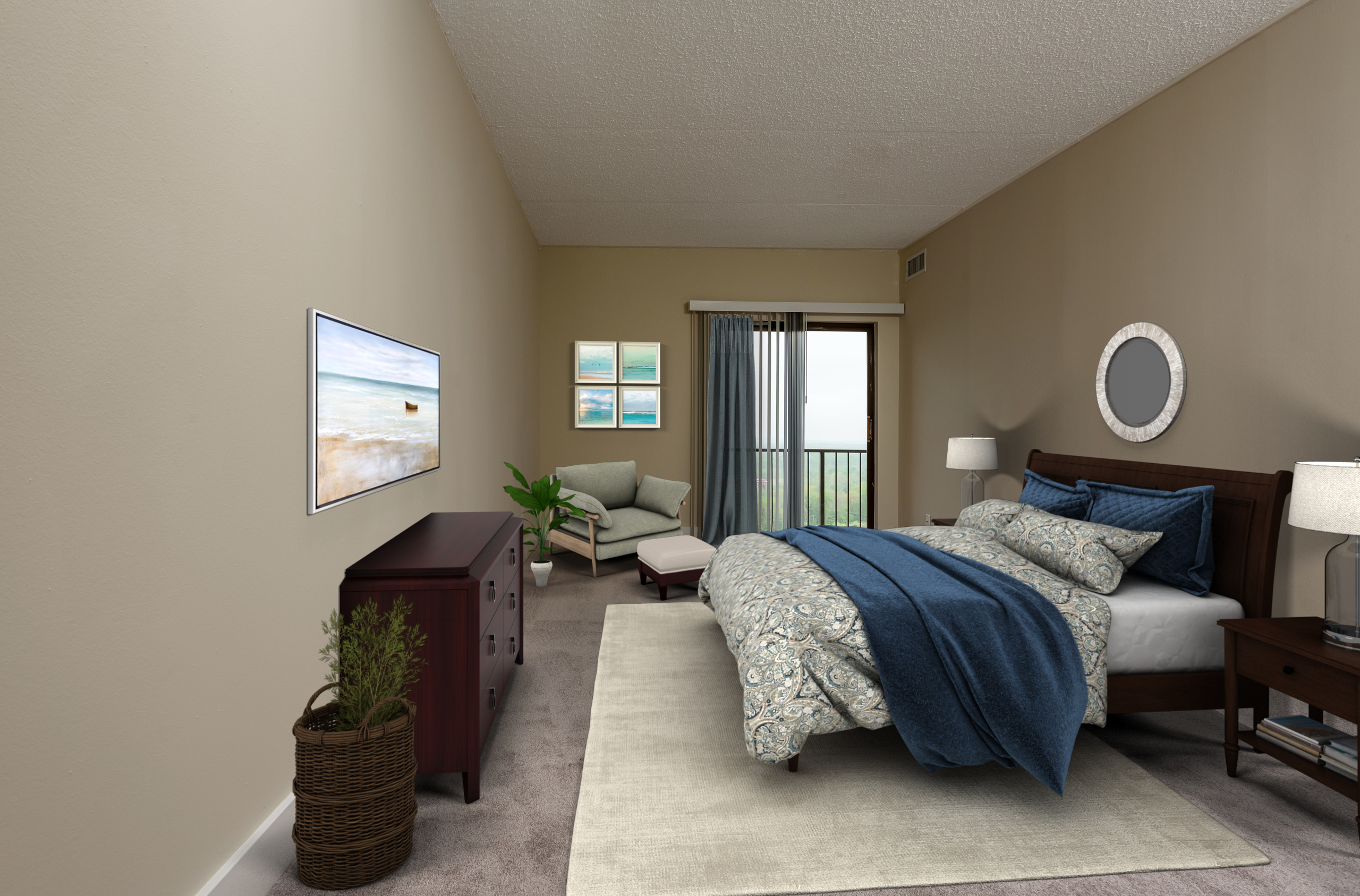 King of Prussia apartment bedroom at Valley Forge Towers