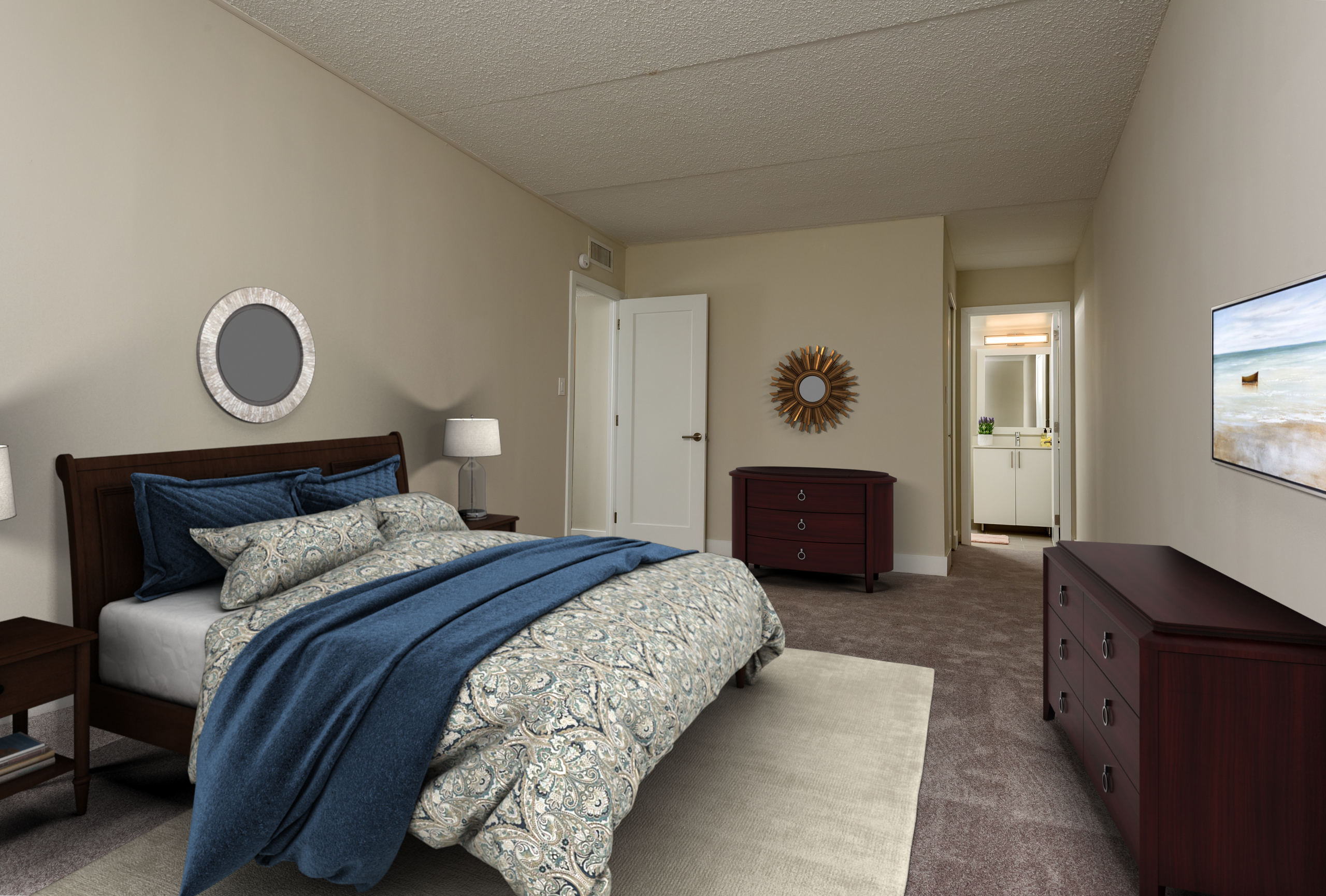 bedroom in a King of Prussia apartment rental at Valley Forge Towers
