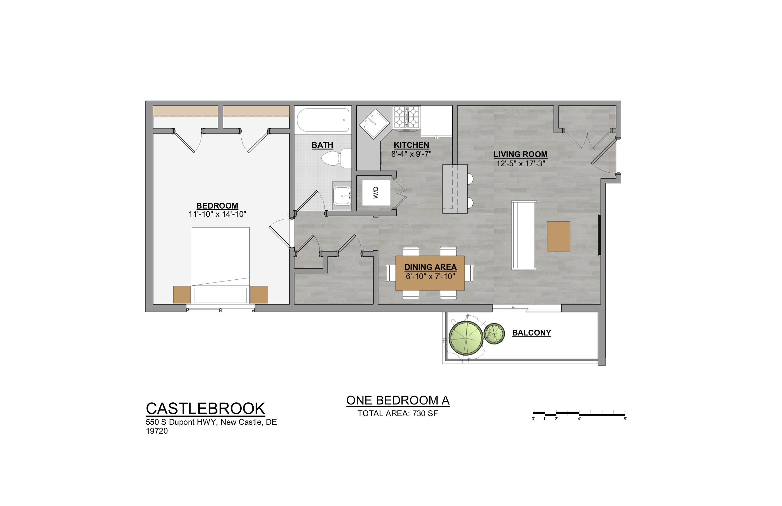 1-bedroom New Castle apartment floor plan for rent at Castlebrook Apartments