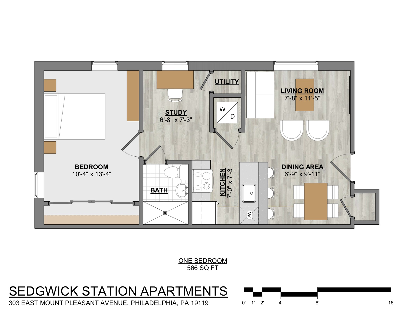 Sedgwick Station 1-bedroom apartment floor plan in Mt. Airy with spacious bedroom.