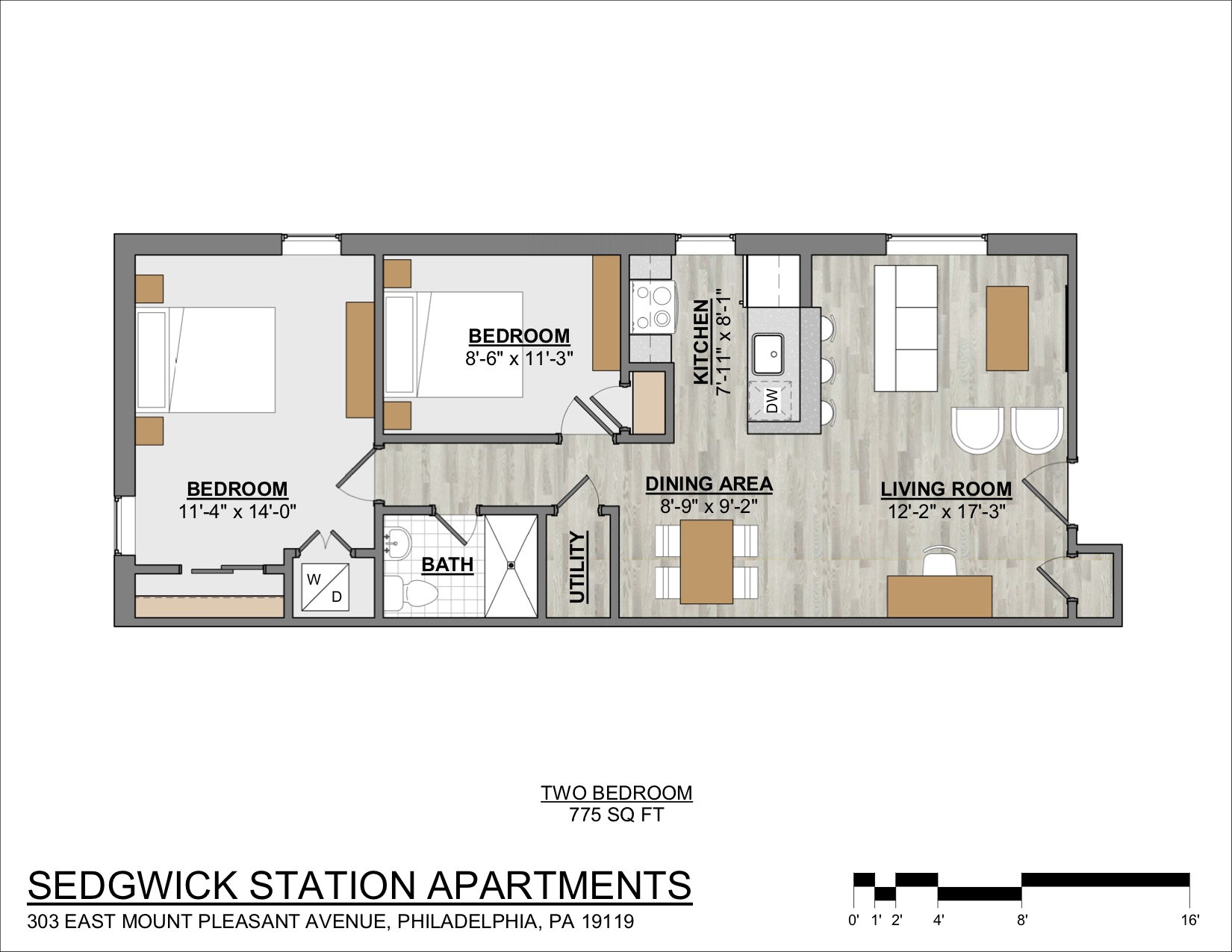 Floor plan of a 2-bedroom Mt. Airy apartment rental at Sedgwick Station